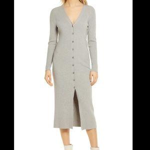WAYF Petra V-Neck Cardigan Dress Heather Grey XS